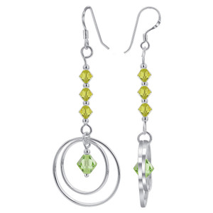 Green Crystal with 925 Silver Dangle Earrings