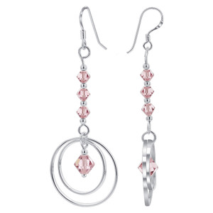 Rose Crystal with 925 Silver Dangle Earrings