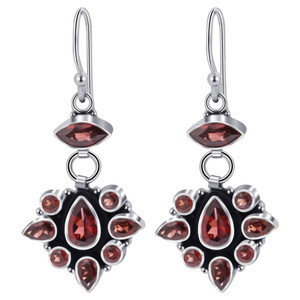 925 Silver Garnet Gemstone Drop Earrings
