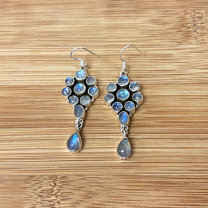 Moonstone Gemstone Sterling Silver Drop Earrings