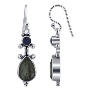 Pear and Round Labradorite Gemstone Sterling Silver Drop Earrings