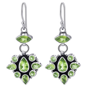 925 Silver Peridot Gemstone Drop Earrings