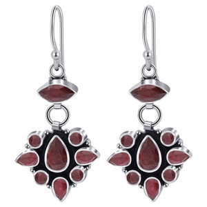 Ruby Gemstone Bali Design Drop Earrings