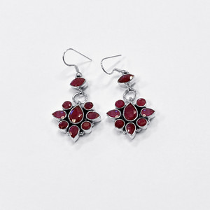 925 Silver Dyed Ruby Gemstone Drop Earrings
