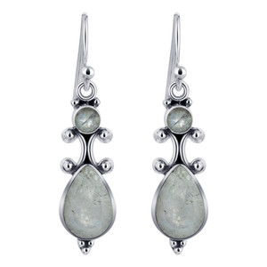Pear and Round Moonstone Gemstone Sterling Silver Drop Earrings