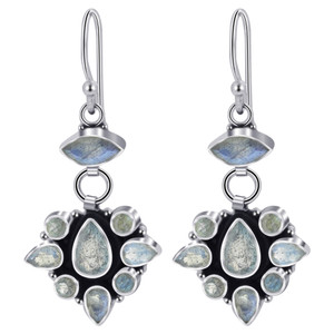 925 Silver Labradorite Gemstone Drop Earrings
