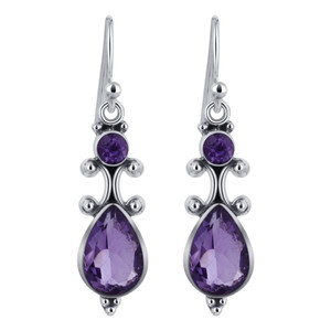 Amethyst Gemstone 925 Silver Drop Earrings