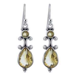 Pear and Round Citrine Gemstone Sterling Silver Drop Earrings