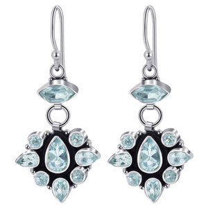 Blue Topaz Gemstone Drop Earrings