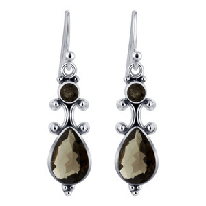 Pear and Round Smokey Quartz Gemstone Sterling Silver Drop Earrings