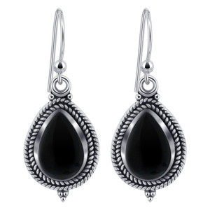 Black Onyx Gemstone Sterling Silver Drop Earrings