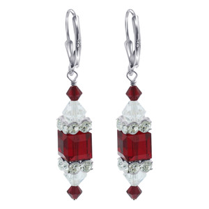 Red Cube Crystal 925 Silver Drop Earrings