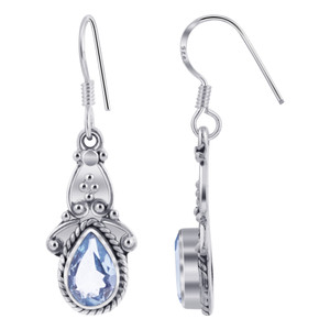 Blue Topaz Gemstone Ornate 925 Silver Drop Earrings