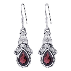 Garnet Gemstone Ornate 925 Silver Drop Earrings