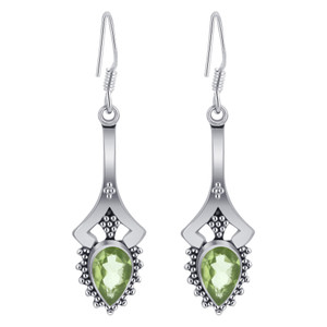 Peridot Gemstone French Hook Earrings