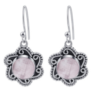Rose Quartz Gemstone Flower Design Drop Earrings