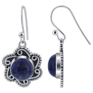 Round Lapis Lazuli Gemstone Flower Design Drop Earrings