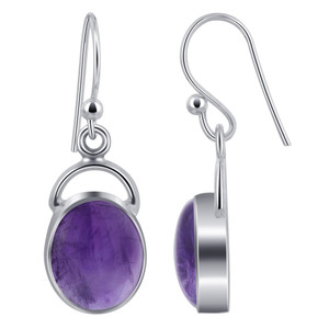 Oval Amethyst Cabochon Gemstone Sterling Silver French Hook Drop Earrings