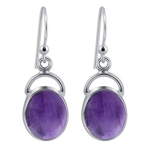 Amethyst Cabochon Gemstone 925 Silver Drop Earrings