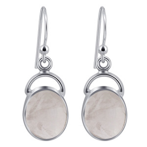 Oval Rose Quartz Cabochon Gemstone Sterling Silver French Hook Drop Earrings