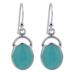 Oval Chalcedony Cabochon Gemstone Sterling Silver French Hook Drop Earrings