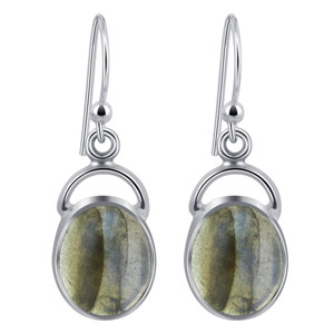 Labradorite Cabochon Gemstone 925 Silver Drop Earrings