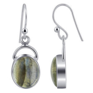 Oval Labradorite Cabochon Gemstone Sterling Silver French Hook Drop Earrings