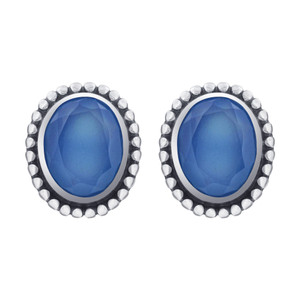 Oval Blue Chalcedony Gemstone Bezel Set Sterling Silver Stud Earrings
