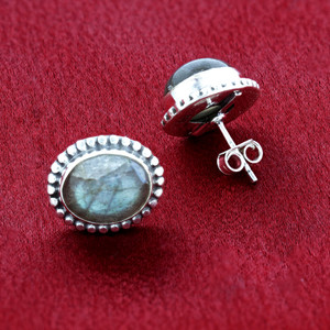 Oval Labrodorite Gemstone Bezel Set Sterling Silver Stud Earrings