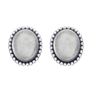 Oval Moonstone Gemstone Bezel Set Sterling Silver Stud Earrings