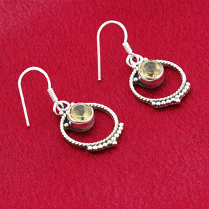 Round Citrine Gemstone Sterling Silver French Ear Wire Drop Earrings