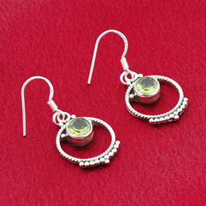 Round Peridot Gemstone Sterling Silver French Ear Wire Drop Earrings