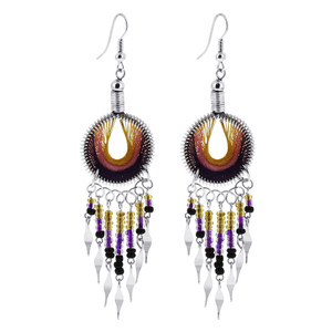 Multicolor Thread and Beads Chandelier Earrings