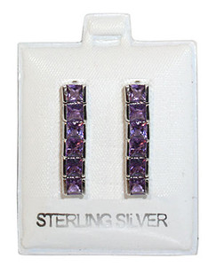 Amethyst Gemstone 925 Silver Stud Earrings