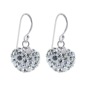Heart Clear Crystal Drop Earrings