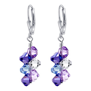 925 Silver Multicolor Crystal Drop Earrings