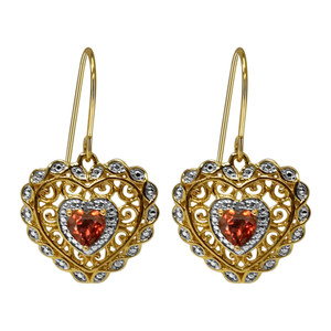 Heart Shape Garnet Gemstone Vermeil Earrings