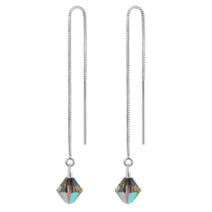 925 Silver Threader String Vitrail Crystal Earrings