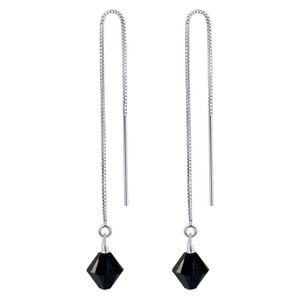 925 Silver Threader String Black Crystal Earrings