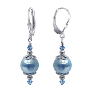 925 Silver Blue Faux Pearl Crystal Drop Earrings