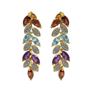 Gold Over 925 Silver Vermeil Multi Gemstone Stud Earrings