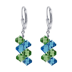 Sterling Silver Blue & Green Crystal Drop Earrings