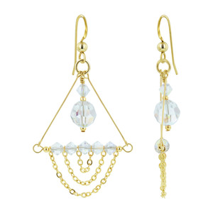 14K Gold Filled Clear AB Crystal Chandelier Drop Earrings