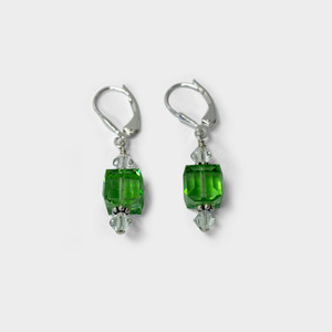 Sterling Silver Cube Shape Swarovski Elements Green Crystal Leverback Handmade Drop Earrings