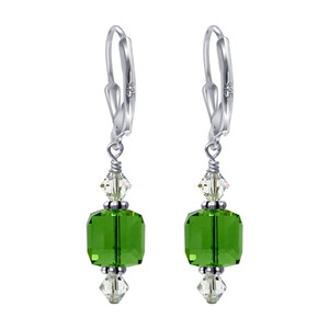 925 Silver Cube Shape Green Crystal Drop Earrings