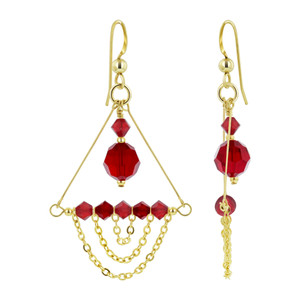 14K Gold Filled Red Crystal Chandelier Drop Earrings