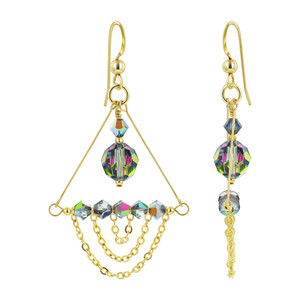 14K Gold Filled Vitrail Crystal Chandelier Drop Earrings