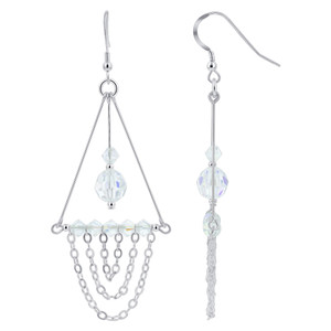 Clear AB Crystal Sterling Silver Chandelier Earrings