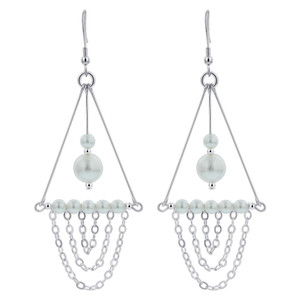 White Pearl Sterling Silver Chandelier Earrings