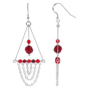 Red Crystal Sterling Silver Chandelier Earrings